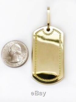 Men 10K Solid Yellow Gold Custom Large Dog Tag Charm Pendant, 2.04,12.2 Grams