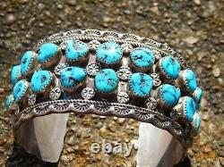 Men's Ronnie Hurley Navajo Cuff Bracelet Sterling Silver Turquoise Nuggets Stamp