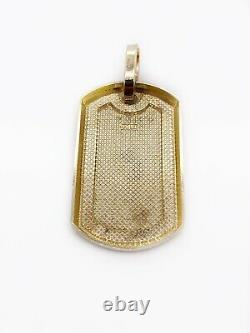 Mens 10K Solid Yellow Gold Custom Dog Tag Charm Pendant, 1.53, 7 Grams