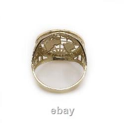 Mens 10K Solid Yellow Gold Globe Earth The World Is Yours Map Ring Size 12