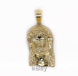Mens 10K Solid Yellow Gold Jesus Christ Head Face Pendant 6.8 Grams 2.16