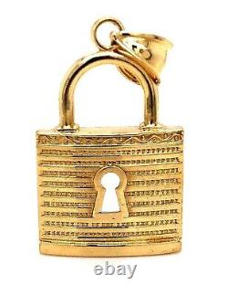 Mens 10K Solid Yellow Gold Large Pad Lock Pendant 1.5 Inches 3.4 Grams