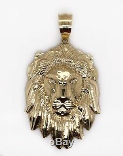 Mens 10K Solid Yellow Gold Lion Head Face Pendant Charm 13.8 Grams, 3 Large