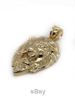 Mens 10K Solid Yellow Gold Lion Head Face Pendant Charm 5.4 Grams, 1.85 Large