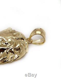 Mens 10K Solid Yellow Gold Lion Head Face Pendant Charm 7.1 Grams, 2.16 Large