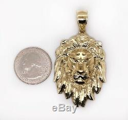 Mens 10K Solid Yellow Gold Lion Head Face Pendant Charm 8.7 Grams, 2.48 Large
