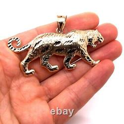 Mens 10K Solid Yellow Gold Tiger Pendant Charm 9.1 Grams, 2.87 Large