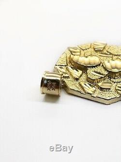 Mens 10K Yellow Gold Diamond Cut Nugget Octagonal Shape Pendant 5.8 Grams 1.18
