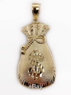Mens 10K Yellow Gold Large Lucky Dollar Sign Money Bag Pendant 2.04