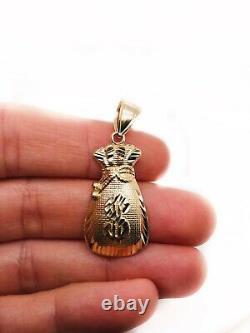 Mens 10K Yellow Gold Large Lucky Dollar Sign Money Bag Pendant 3.8 Grams 1.3