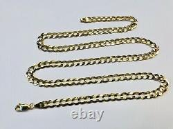 Mens 14k Solid Yellow Gold Cuban Link Chain Necklace 24, 4.5 mm 15 Grams