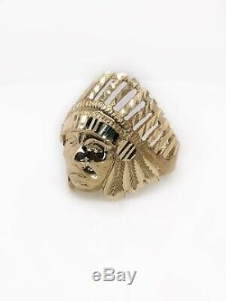 Mens Ring 10K Solid Yellow Gold Diamond Cut Indian Chief Head Ring 7.3 Grams
