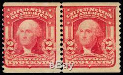 Momen Us Stamps #322 Coil Mint Og H Pair Pf Cert
