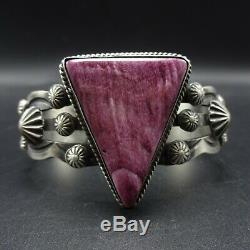 NAVAJO Hand-Stamped Sterling Silver PURPLE SPINY OYSTER SHELL Cuff BRACELET