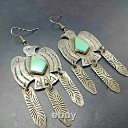 NAVAJO Hand-Stamped Sterling Silver TURQUOISE THUNDERBIRD Dangle EARRINGS