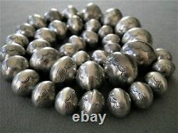 Native American Graduated Sterling Silver Navajo Pearls Stamped Bead Necklace