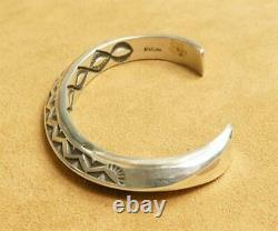 Native American Heavy Thick Stamp Sterling Silver 7 Triangle Open Bracelet Cuff