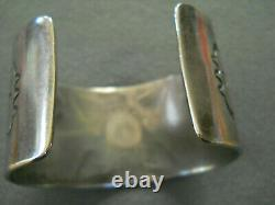 Native American Indian Sterling Silver Arrowhead Stamped Cuff Bracelet Signed