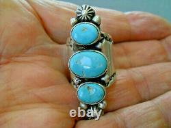 Native American Indian Turquoise 3-Stone Sterling Silver Stamped Ring JA sz 5.75