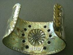 Native American Indian Turquoise Sterling Silver Repousse Stamped Cuff Bracelet