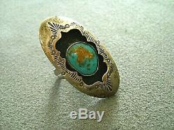 Native American Indian Turquoise Sterling Silver Stamped Shadowbox Ring 7 TERESA