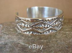 Native American Jewelry Hand Stamped Sterling Silver Bracelet by Maloney