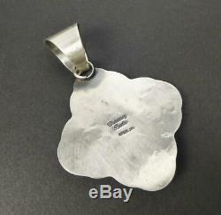 Native American Navajo Chimney Butte Stamped Thick Sterling Silver Cross Pendant