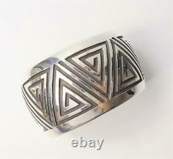 Native American Navajo Rosco Scott Wide Stamped Sterling Silver Bracelet Cuff