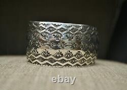 Native American Navajo Stamped Design Sterling Silver Cuff Bracelet