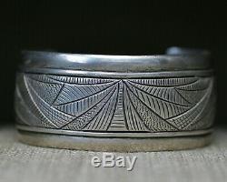 Native American Navajo Stamped Sterling Silver Cuff Bracelet