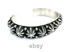 Native American Navajo Sterling Silver Handmade Silver Stamp Cuff Bracelet