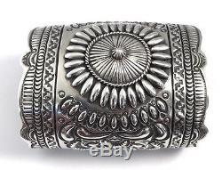 Native American Navajo Sterling Silver Handmade Stamp Cuff Bracelet