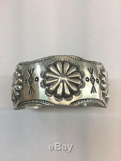 Native American Navajo Sterling Silver Old Style Stamped Cuff Bracelet