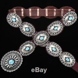 Native American Navajo Traditional Stamped Silver Turquoise Concho Belt