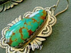 Native American Navajo Turquoise Sterling Silver Stamped Hook Earrings B YAZZIE