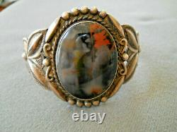 Native American Petrified Wood Sterling Silver Stamped Repousse Cuff Bracelet
