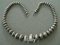 Native American Sterling Silver Graduated Navajo Pearls Stamped Bead Necklace