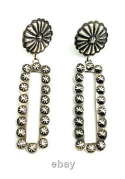 Native American Sterling Silver Navajo Handmade Old Look Stamp Earrings