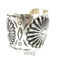 Native American Sterling Silver Navajo Handmade Silver Stamp Cuff Bracelet