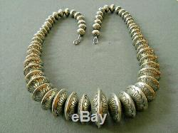 Native American Sterling Silver Navajo Pearls Graduated Stamped Bead Necklace
