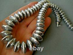 Native American Sterling Silver Navajo Pearls Stamped Bead Necklace 149 grams