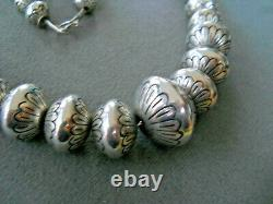 Native American Sterling Silver Navajo Pearls Stamped Graduated Bead Necklace PY
