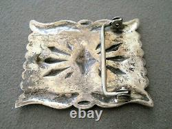 Native American Sterling Silver Repousse Stamped Rectangular Concho Belt Buckle