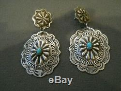 Native American Turquoise Repousse Stamped Sterling Silver Post Earrings G BLKGT