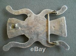 Native American Turquoise Sterling Silver Sand Cast Stamped Belt Buckle