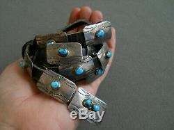 Native American Turquoise Sterling Silver Stamped Concho Belt Style Belt Hatband