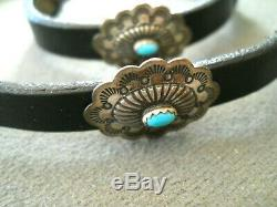 Native American Turquoise Sterling Silver Stamped Concho Belt Style Hatband OTSM