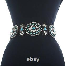 Native Navajo Turquoise Stamped Concho Belt Old Pawn Style Antiqued Silver