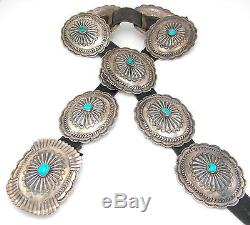 Navajo BENNIE KEE SCOTT Stamped Sterling Silver Repousse Turquoise Concho Belt J