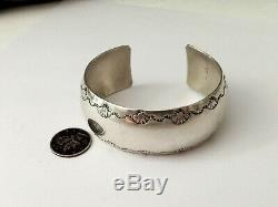 Navajo Ben Chavez Sterling Silver Native American WIDE Stamped Cuff Bracelet